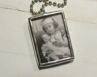 NURSE charm necklace recycled