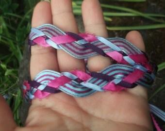 Handfasting Cord - SiMPLE Magenta Purple Blue Pinstripe Ribbon Long