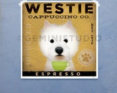 West Highland Terrier Westie Coffee Company original graphic art archival giclee print by Stephen Fowler