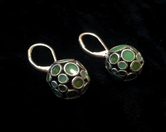 Vintage Earrings, Mid-Century Modern, Drop, Ball, Mod, 50s, 60s, Artisan, Unique, Lever Back, Peirced, Abstract, Green, Cosmic, Circles
