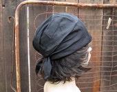 60s Black silk turban Vintage Silk cloche 20s style slouchy hat 60s vintage black hat