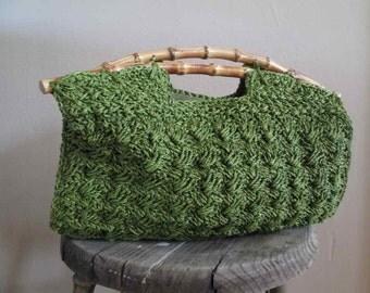 Bamboo and Crochet 60s Vintage tiki Handbag Tropical Green Crochet Purse Bamboo handles Green Handbag