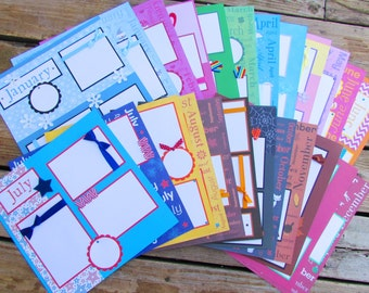 12x12 Scrapbook Layouts premade pages -- all THROUGH THE YEAR -- monthly scrapbook pages - Set of 24 - one layout for each month of the year