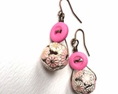 Pink and White Floral Vintage Button Earrings - Retro Style Jewelry