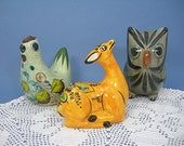 Mexico Tonala Folk Art Pottery Figurines, Chicken, Deer, Owl, Three Colorful Vintage Hand-painted Figures, Southwest Home Decor Collectible