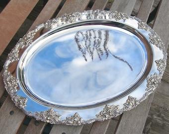 Silverplate Serving Platter, Godinger Grapes & Vines, Large Oval, 17 inch Long, Elegant Dining, Buffet Tray, Thanksgiving, Christmas Vintage
