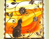 Floral with Copper Cat on Glass