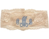 "Personalized Embroidered Andrea Taupe/Natural Wedding Lace Stretch Garter with Monogram - A ""Something Blue"" or your Wedding Color"