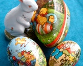 SALE Very Vintage Easter Eggs in Paper Mache -- Germany -- Nested Set of 3
