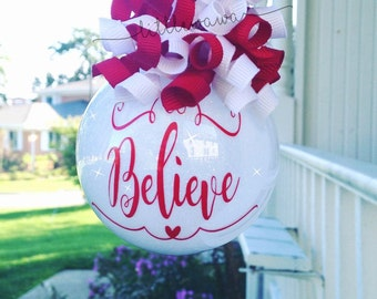 Believe Christmas Ornament - Christmas Ornament - White Red Christmas - Christmas Gift - Believe Ornament - Gifts