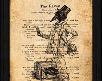 The Raven Art on Text  8 x 10 Printable