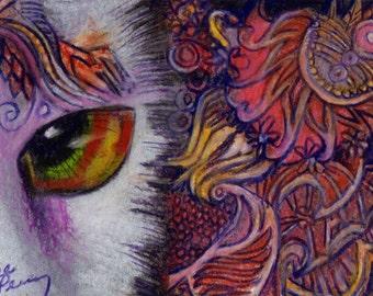 original art  aceo drawing cat face orange zentangle