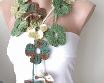 SALE-Flower Scarf, Handmade Crochet , Green mix tones, Flower Lariat, Scarf, Necklace