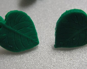 Green Leaf Polymer Clay Pierced Earrings