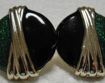 Green Glitz Gold Tone Black Enamel Pierced Earrings