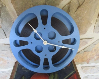 "Movie Reel Clock - Repurposed and Upcycled Wall Clock - 10"" Diameter - Vintage Film Reel"