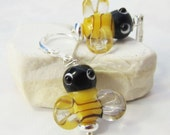 bee earrings - bee jewelry - honey bees gift for your bee keeper pal - lampwork glass bees - cheerful yellow art glass