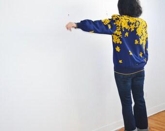 vintage blouse cardigan by Eva for Robert Janan-large size-floral light jacket
