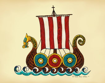 Scandinavian Viking Ship Fine Art Print