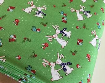 Christmas fabric, Pixie Noel fabric, Holiday fabric, Tasha Noel by Riley Blake, Green fabric, Pixie bunnies in Green,  Choose the cut
