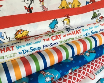 Dr Seuss fabric bundle of 7, Gift for Teacher, Back to School, Seuss Party, Cat in the Hat fabric, School fabric, Choose your cut