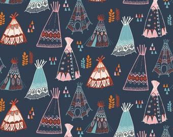 ORGANIC fabric, Wild Land by Birch Fabrics- Teepees in Dusk Navy, Boho fabric, Adventure, Quilt fabric, Nursery, Choose your cut