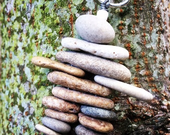 STONE MAN...2 inch tall Inuksuk beach stone sculpture,cairn style, art with pebbles,natural structure,legend,good fortune,gift guide