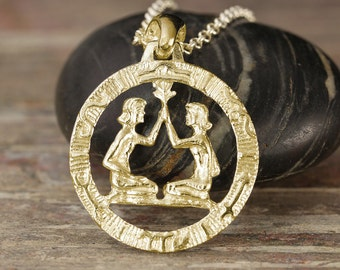 Gold Gemini zodiac pendant - Available in rose gold, yellow gold or white gold