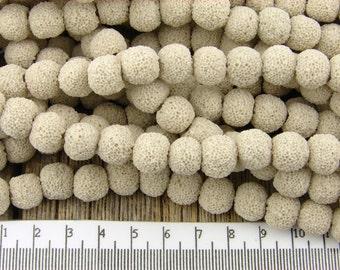 10mm Lava Rock Beads, Cream Beige Lava Round Nugget Beads, 10 mm Lava Stone Beads, Volcanic beads