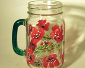 Hand Painted Red Floral Mason Jar Pint Glass