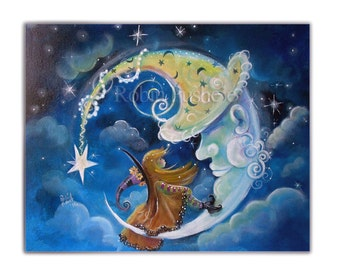 Little Witch on the Moon, Whimsical ,Original Painting on Canvas, 16x20