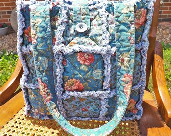Rag Quilt Tote - Blue Floral - Handmade - Rag Quilt Handbag - Teal - Dusty Blue and Pink