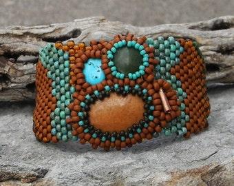 Free Form Peyote Stitch Beaded Bracelet Beaded Cuff - Beaded Cluster Cabochon - Bead Weaving - Jasper Jade Turquoise BOHO