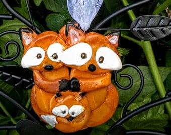 Custom fox family ornament