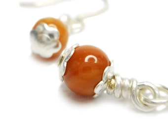 Amber Mother Of Pearl Drop Wire Wrapped Earrings
