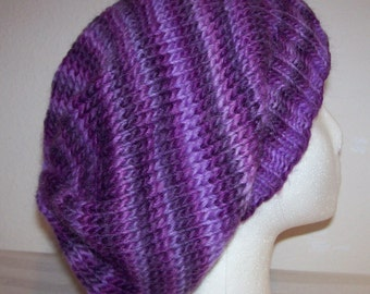 Wool Slouch Hat - Slouchy Knit Beanie - Knitted Dreadlock Tam - Slouchy Hat - Hand Knit Hat - Purple and Lavender