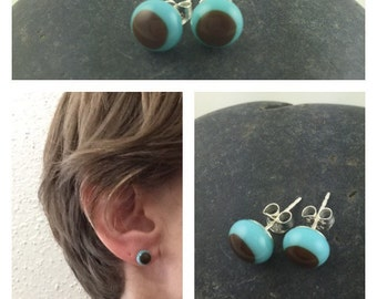 Turquoise and Brown Studs / Glass Studs / Earthy Jewelry / Stud Earrings / Trendy Jewelry / Fused Glass Jewelry / Handmade in Texas