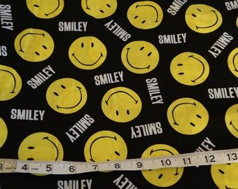 Smiley Smile Face Yellow Happy Face Fabric - 2 yards