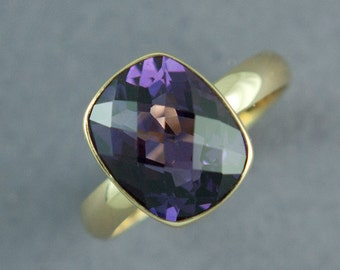 Large Dark Purple Amethyst Ring, Checkerboard Cut, Faceted Rectangle Ring, Solid 14K or 18K Gold, Yellow or Rose Gold, Made to Order
