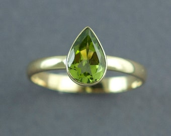 Gold Peridot Ring, Solid Gold Ring, Pear Cut Stone, Peridot Solitaire Ring, 14K or 18K Gold Ring, Made to Order, Free Courier Shipping