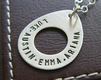 Custom Teardrop Necklace - Personalized Sterling Silver Hand Stamped Washer Necklace with Names and Optional Birthstone or Pearl