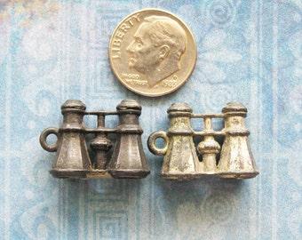 Binoculars Opera Glasses Charm Set Lead Cracker Jack Gumball Antique 1920's Premium Prize Novelty Metal Toy Token Pendants