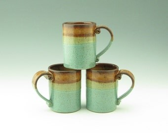 Stoneware Pottery Coffee Mug Singles - Sturdy and Elegant Handmade 12 oz Cafe Style Soup Mug - Honey & Sea Mist Hot or Cold Beverage Cup
