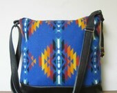 Wool Purse Shoulder Bag Messenger Black Leather Adjustable Strap Wool from Pendleton Oregon