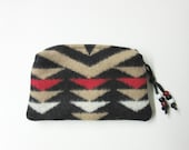 Wool Zippered Pouch Coin Purse Change Purse Accessory Organizer Tribal Inspired Southwest Style