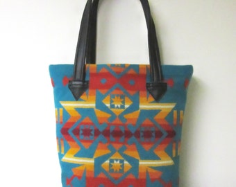 Tote Bag Bucket Bag Purse Wool Black Leather 5 Pockets Turquoise Colorful Blanket Wool from Pendleton Oregon