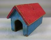 Vintage Miniature Wooden Doll House Dog House 1950's Hand Painted Wood