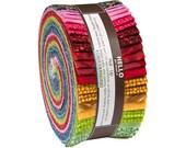 "Robert Kaufman TEXTURE SPECTRUM BRIGHT Roll Up 2.5"" Precut Fabric Quilting Strips Jelly Roll ru-528-40"