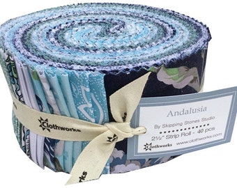 """Clothworks ANDALUSIA Strip Roll 2.5"""" Precut Fabric Quilting Cotton Strips Jelly Skipping Stones Studio"""