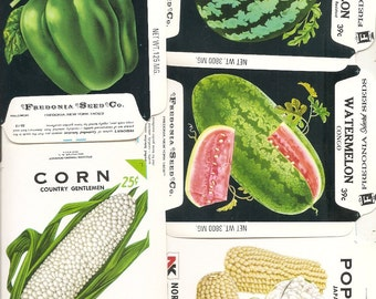 25 Vintage FLOWER / VEGETABLE Unfolded Vegetable Seed Packs